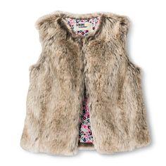 Infant Toddler Girls' Faux Fur Fashion Vest - Brown S