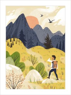 Mountain Illustration, Simple Illustration, Travel Illustration, Graphic Illustration, Birthday Card Sayings, Health Pictures, Love Posters, Freelance Illustrator, Painting & Drawing