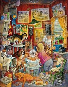 Blue Ribbon Groomer SunsOut 1000+ Larger Easy Grasp Piece Jigsaw Puzzle by Artist Bill Bell, $16.50