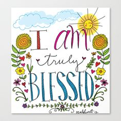 Blessed Stretched Canvas by Elizabeth Caldwell - $85.00