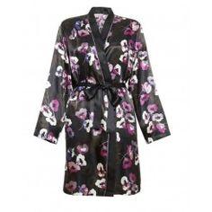 M&S Poppy Print Long Sleeve Satin Kimono. Sizes 8-22