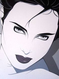 "Patrick Nagel - Black Bustier (close up), September 1983. Yes - he also designed Duran Duran's ""Rio"" cover, and was the inspiration for Comedy Central's ""Moonbeam City"""