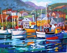 Harbour at the Cape ~ Isabel le Roux, South Africa Seascape Paintings, Landscape Paintings, Oil Paintings, Poseidon, Romantic Paintings, South African Artists, Boat Painting, Amazing Drawings, Naive Art