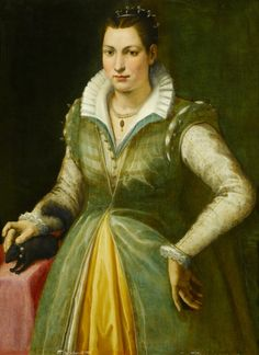 Portrait of a Lady, possibly the Poet Maddalena Salvetti (1557-1610), in a Green Dress and Pearls, Standing at a Draped Table, with a Pet Squirrel