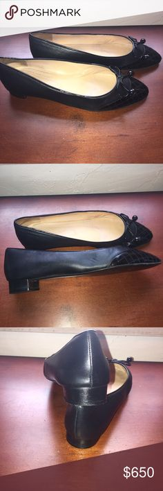 SALE Chanel Quilted Pointed toe Ballerina Pointed quilt stitched patent leather toe, Caviar leather body.  Covered heel 1.5 inches.  Bow detail with gold CC logos.  Size 41EU.  Excellent condition.  Worn only a few times.  Exterior looks brand new on the foot.  No trades for these. CHANEL Shoes Flats & Loafers