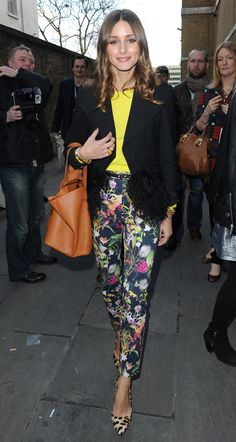 From Grazia -Fash week inspiration - clash the new turbo-floral pant (these are from Zara) with a leopard heel (Olivia's in her favourite Mulberry heels.)