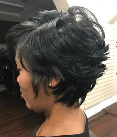 60 Great Short Hairstyles for Black Women - Layered Black Pixie Bob - Black Layered Bob Hairstyles, Layered Haircuts For Medium Hair, Easy Hairstyles For Medium Hair, Short Bob Hairstyles, Black Women Hairstyles, Bob Haircuts, Natural Hairstyles, Braided Hairstyles, Short Hair Styles Easy