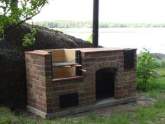 Pihagrilli hellalevyllä Brick Bbq, Bbq Grill, Backyard, Garden, Cottages, Furniture, Home Decor, Cookers, Ovens