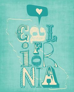 "California Print Art ""I HEART CALIFORNIA"" 8x10 Blue, Yellow, Red or Green, Modern State Map Poster :: PradaCreations Shop :: $19.00"