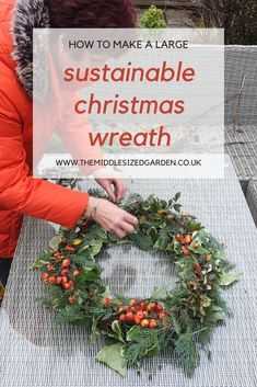 How to make an extra large wreath for the outdoor of your house or for your mantelpiece. Big wreaths cost a lot to buy but this is a cheap, DIY stylish alternative - and it's easy to do! #christmas #garden #backyard #middlesizedgarden Christmas Garden, Christmas Wreaths, Christmas Decorations, Twig Wreath, Frame Wreath, Cool Sheds, Vintage Garden Parties, Insect Hotel, Garden Party Decorations