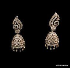 Designer Gold Earrings Tanishq Designer Jewelry That Looks Like A Clover Diamond Earrings Indian, Diamond Jhumkas, Diamond Earrings For Women, Diamond Studs, Diamond Jewellery, Diamond Rings, Antique Jewelry, Gold Jewelry, Jewelry Accessories