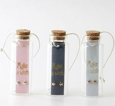 Are you interested in our earrings in a message bottle? With our stars ear studs in a message bottle you need look no further.