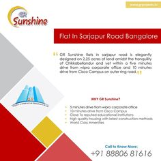 GR Sunshine is ongoing Project In Sarjapur Road, Which is close to WIPRO Corporate Office. Which Come with 1,2,3 BHK Flats. To Know more (Or) Booking: Visit: http://grprojects.in/apartments/sunshine/ (Or) Call: +91 8880681616