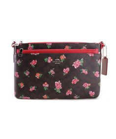 Look what I found on #zulily! Brown & Red Floral Leather Crossbody Bag #zulilyfinds