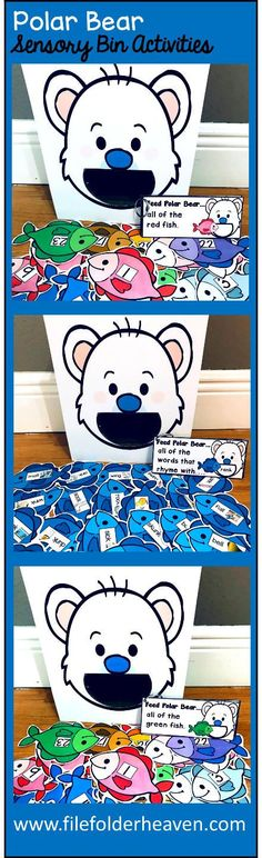 """These Polar Bear Sensory Bin Activities: """"Feed Polar Bear"""" are a GREAT addition to your polar bear or winter themed sensory bins! There are so many ways to use this Feed Polar Bear Set. I have left it very open ended so that you can target the skills you need to target in a small group setting. I have also included instruction cards for each set so that you can set the activity up as an independent center, and/or sensory bin activity."""