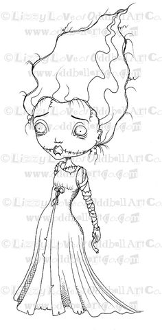 Digi Stamp Digital Instant Download Creepy Cute By OddballArtCo