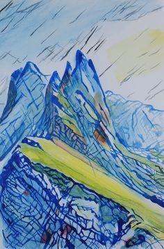 Il blu diventa padrone della linea e concorre a costruire l'immagine, cambia di densità edefinisce la distanza. Mi piaceva come questa lingua giallo-verde-rossa tagliava in diagonale la montagna, che assume tonalità bluastre.   #acrilic #art #arte #artworks #bellezza #canvas #dipinto #drepar #espressionismo #expressionism #giallo #green #high #info #joy #landscape #lineare #linee #nature #peace #portfolio #quiet #rosso #tela