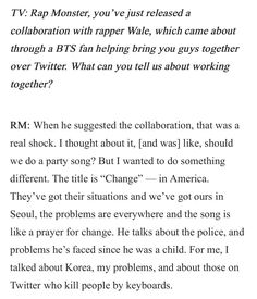 Rap Monster talking about his collaboration with Wale~ ❤ (Meet BTS, the K-Pop Group Loved By Wale and Charlie Puth Interview! Article link: teenvogue.com/story/bts-k-pop-group-loved-by-wale-charlie-puth) #BTS #방탄소년단