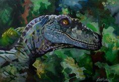 Velociraptor Jurassic Park III acrylic painting on board Original movie art by L M Stephens by LornaMarieArts on Etsy