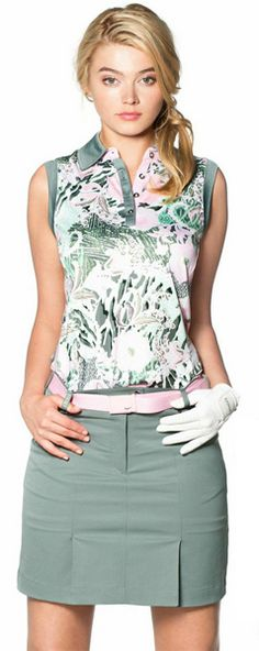 Ladies golf outfit in #pink and fern #green #golf4her.com