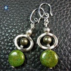 ♥ EASY SHIP TO USA Charming Green Jasper & Pyrite -  Plated Silver Earrings  | eBay