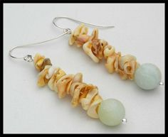 MAURITANIAN SHELLS - Frosted Amazonite & Mauritanian Conus Shell Earrings by sandrawebsterjewelry on Etsy