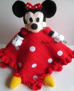 Handmade Crochet Minnie Mouse security blanket crochet blanket baby blanket kids. $42.99, via Etsy.