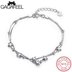 GAGAFEEL Authentic 100% 925 Sterling Silver Bracelets Link Chain Bangle Bracelet White CZ Crystal Star Watch For Women Jewelry  #Affiliate