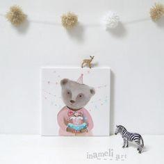 Nursery art art painting children's wall art teddy di inameliart, $98.00
