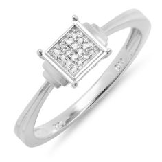 0.05 Carat (ctw) Sterling Silver Round Cut Square Frame Diamond Ladies Bridal Engagement Promise Ring DazzlingRock Collection. $29.00. Crafted in pure 925 Sterling Silver .. Weighs approximately 1.63 grams. This Ring is best for promise engagement ring.. Diamond Color / Clarity : H-I/I1-I2. Items is smaller than what appears in photo. Photo enlarged to show detail. Save 67%!