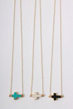 Ceek Jewelry, Sideways Cross necklace