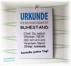 Wanddeko - Bild Urkunde WOHLVERDIENTER RUHESTAND No. 2 blau - ein Designerstück von PowderArt bei DaWanda