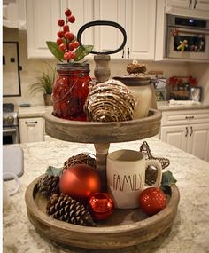 Christmas two-tiered tray. christmas two-tiered tray kitchen centerpiece, table centerpieces After Christmas, Christmas Kitchen, Rustic Christmas, Christmas Home, Christmas Ideas, Tray Decor, Decoration Table, Christmas Centerpieces, Xmas Decorations