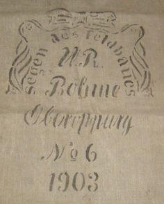 Antique GERMAN grain sack, Linen, Handwoven, Original Printed, Prewashed (clean).