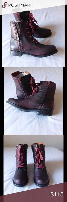 Leather! Fancy Oxblood Booties W/Many Side Zippers NWOT. These pair of booties are simply spectacular and unique. Soft and comfy material. Gorgeous color and exclusive design. Size 8.5 - Save $$$ on bundles. Shoes Ankle Boots & Booties