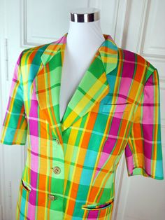 German Vintage Rainbow Blazer Women's, Short-Sleeve Multicolor Jacket, 1980s Rainbow Check Spring Summer Blazer: Size 12 US, Size 16 UK by YouLookAmazing on Etsy