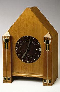 Josef Maria Olbrich. Mantel clock c.1902. Wood, ebony, ivory.