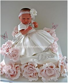 Exclusive Baby Girl Christening cake, original design of EliteCakeDesigns Sydney! Visit our exclusive Christening Cake design Gallery Baby Cakes, Baby Shower Cakes, Gateau Baby Shower, Gorgeous Cakes, Pretty Cakes, Cute Cakes, Amazing Cakes, Deco Cupcake, Cupcake Cakes