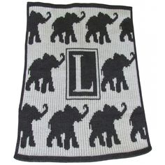 Personalized Initial Walking Elephants Blanket