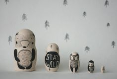 STAY WILD set of 5 black and white wooden by Matreshkamania