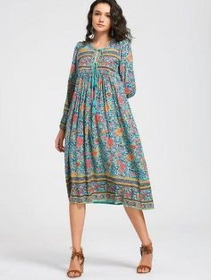 Zaful - Zaful Flower Tassels Long Sleeve Midi Dress - AdoreWe.com