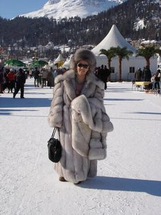 Another photo of my lovely sister in her gorgeous big blue fox coat in st.moritz