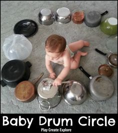 Play Create Explore: Baby Drum Circle made with pots, pans and spoon. Fun activi… Play Create Explore: Baby Drum Circle made with pots, pans and spoon. Fun activity to keep a baby or toddler busy for a few minutes and make some noise! Baby Sensory Play, Baby Play, Sensory Motor, Toddler Play, Toddler Learning, Learning Music, Toddler Music, Infant Play, Infant Room