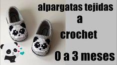 alpargatas tejidas a crochet - diseño panda-bordado - punto de cruz