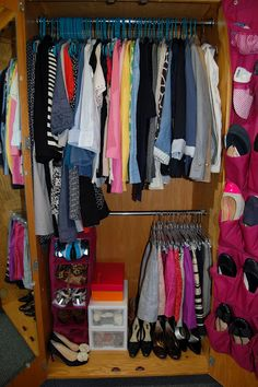 How to fit everything in your dorm closet by thecollegeprepster.com!  NOT VERY MANY GOOD TIPS. EVERYTHING IN THE ARTICLE IS SUMMED UP IN THE PIN PICTURE. DONE