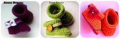 Stivaletti a uncinetto per neonato o neonata: 3 versioni, stesso tutorial. Lo stivaletto a uncinetto è realizzato nello stesso identico modo, cambiano i colori e gli accesori per rend...