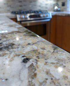 Beautiful Alpine White granite in 2019 Granite Countertops Colors, Granite Colors, Granite Kitchen, Stone Interior, Grey Interior Design, Glacier White Granite, Delicatus White Granite, Patterned Kitchen Tiles