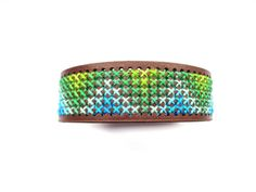 Cross stitch bracelet embroidered bracelet brown door EvitaHandmade