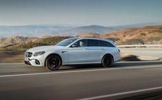 Lataa kuva Mercedes-AMG E63 S, 2018, e-luokan, farmari, valkoinen E63, Saksan autoja, tuning E63, Mercedes