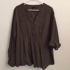 Plus Size Torrid Top Olive green. Sleeves can be worn rolled up or down. Pleating and button details at chest. Gathered in the back for great fit. torrid Tops